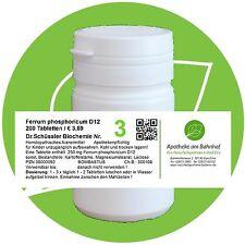 Schüßler - Salz 3 Ferrum phos.  D12 glutenfrei 200 Tabletten PZN 08000092