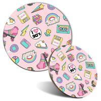 Mouse Mat & Coaster Set - Cute Girls Retro 90's Teen  #8845