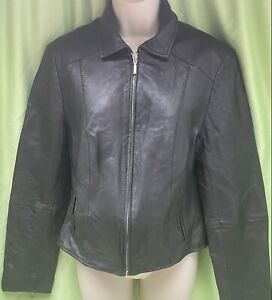 TKMax Size 12 Black Zipped Arms Full Zip Side Pockets Lined Leather Jacket