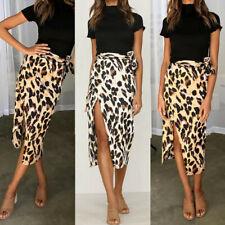 Fashion Women Sexy England Leopard Skirt Split Bandage Evening Party Midi Skirts