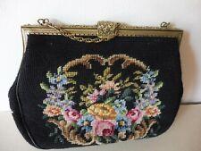 Antike Damen Tasche gestickt, 30 cm, Blumen Vintage Trachtentasche / Abendtasche