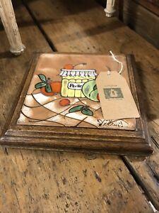 Vintage French Tiled Kitchenalia Trivet Signed Artist