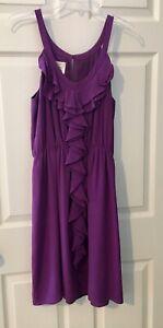 SILK Purple Chiffon Ruffled Women's Dress Sz 10 Wedding Party Date Event Easter