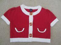 BABY GAP GIRL'S 3T SHORT SLEEVED CARDIGAN RED WHITE POCKETS EASTER