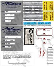 Williams Arcade and Pinball inspection decals