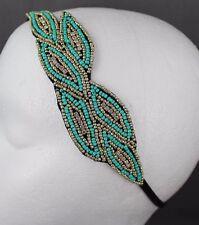Turquoise Gold leaf leaves beaded headband applique fascinator head hair band