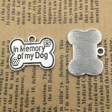 6pcs Charms Dog Bone IN Memory of My Dog Silver Beads Pendant DIY 20*25mm