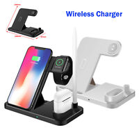 Qi 4 in 1 Wireless Charger Station Fast Charging Dock Stand for iPhone Headphone