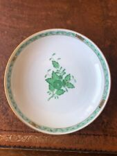 HEREND Hand Painted Chinese Bouquet Green / Apponyi Green Decor Dish
