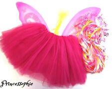 déguisement petite Princesse jupon couronne et ailes de fée baguette rose foncé