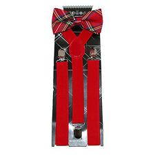 New Scottish Red Tartan Plaid Men's Bow Tie & Suspender & Bow Tie Set Christmas