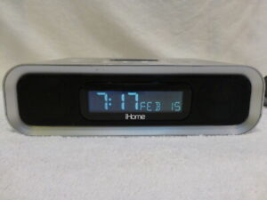 iHOME iP97 SILVER CLOCK RADIO AND IPOD/IPHONE SPEAKER 30 PIN CONNECTOR