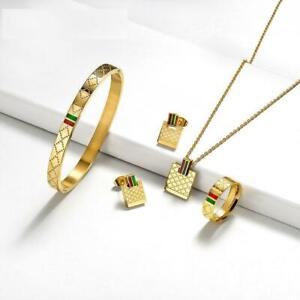 Women Ornaments Ring Necklace Bracelet Earrings Stainless Steel Jewelry Sets
