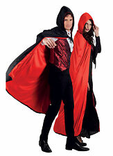 ADULT MENS LADIES VAMPIRE CAPE RED BLACK CLOAK REVERSIBLE HOODED DRACULA 170CM