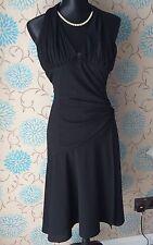 Sexy KAREN MILLEN Black Halterneck Dress with Ruched detail - Size 8