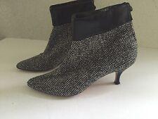 Lulu Guinness Tweed & Leather Booties Kitten Heel 39 1/2