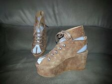 HOUSE OF HARLOW 1960-Perforated Suede Lace-Up Wedge Sandals-BOHO-Sz 37-Excellent