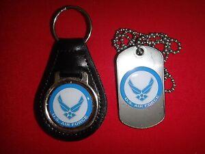 US Air Force pelle Nera Portachiavi+Accoppiamento Cane Etichetta Nuova