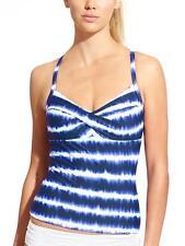 Athleta Del Mar Twister Tankini Sz 32 B/C Dress Blue