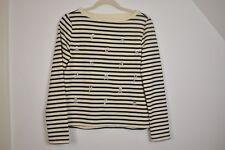 NWT Betsey Johnson Misses XS Cream Black Stripe Embroidered Skull Sweatshirt Q