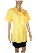 SERGIO Womens Vtg Formal Silk Spotty Yellow Embellish Shirt Blouse sz M/L AB82