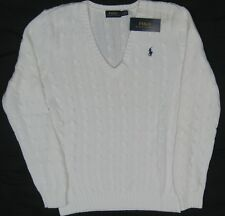 NWT $98 Polo Ralph Lauren Women's White Cotton Cableknit V-Neck Sweater Large