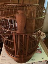 Large Antique Vintage brown Bamboo wooden Hanging Bird Cage 29�x15�