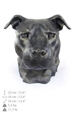 American Staffordshire Terrier uncropped, dog head urn made of Resin, ArtDog, Ca