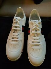 Gucci White w Web Red and Blue Detail Leather Sneakers Gucci Size G14+ US 15.5