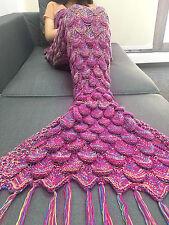 Meerjungfrau Tail Bettdecke Kuscheldecke Schlafsack Gestrickt Sofadecke Kostüme