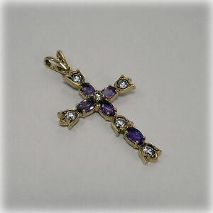 9ct Gold Amethyst & Cubic Zirconia Cross