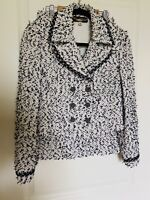 BEAUTIFUL St John couture black White knit jacket skirt suit size 4 Fringe