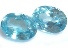 NATURAL OVAL-CUT BLUE ZIRCON LOOSE GEMSTONES PAIR 7 x 5 mm. LOVELY COLOUR