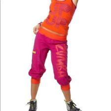 Authentic Zumba Up Down Cargo Capri Pants Pink Sz XXL New