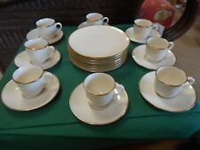 Outstanding LENOX Gold Demitasse Set-8 CUPS & SAUCERS & 8 DESSERT Plates USA
