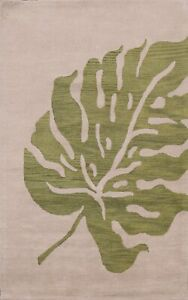 Contemporary Ivory/ Green Nature Print Oriental Area Rug Wool Hand-Tufted 5x8 ft