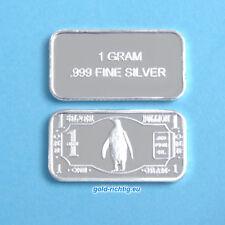1 Gramm Silberbarren - Pinguin (999 Silber Feinsilber Barren Münze Penguin) NEU