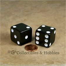 NEW 2 Jumbo 25mm 1 inch Black Dice Pair RPG Board Game D6 Koplow