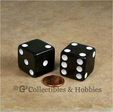 NEW 2 Jumbo 25mm 1 inch Black Dice Pair RPG Board Game D6 Koplow