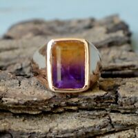 Faceted Dark Ametrine Quartz Gemstone Sterling Silver Rose Gold Plated Ring