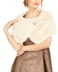 Tahari ASL Women's Faux-Fur Shrug Jacket Brown Size Large