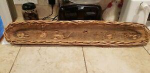 Vintage FRENCH BREAD Baguette Wicker Basket Linen Lined