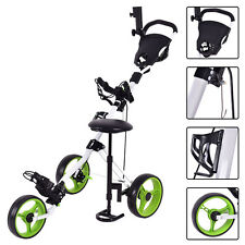 Foldable 3 Wheel Push Pull Golf Club Cart Trolley w/Seat Scoreboard Bag Swivel