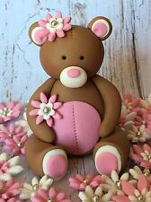 Edible 3D Teddy Bear + 36 Flowers BIRTHDAY CAKE TOPPERS CUPCAKE DECORATIONS