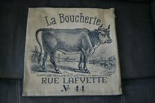 Farmhouse Cow Pillow Cover La Boucherie Home Decor Beige Black 15 French Country