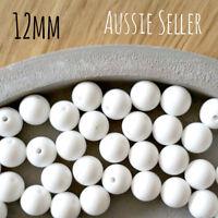 10 SNOW WHITE 12mm SILICONE beads round BPA free baby teeth safe nursing cream