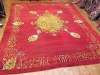 Antique Hand Knotted Turkish Ushak Size 12'x14' Red Color Circa 1920s