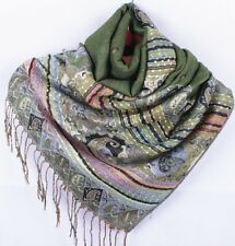 Paisley Scarf Teal Fringed Scarf Green