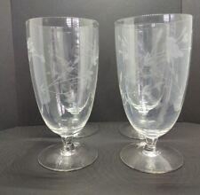 "4 Princess House Heritage Crystal  Stemmed 6"" Water/Iced Tea Goblets"