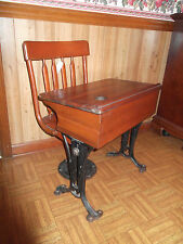 Antique CHANDLER Adjustable Cast Iron Oak School Desk & Chair Boston Co.